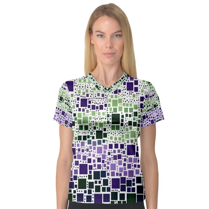 Block On Block, Purple Women s V-Neck Sport Mesh Tee