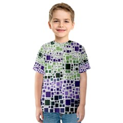 Block On Block, Purple Kids  Sport Mesh Tee