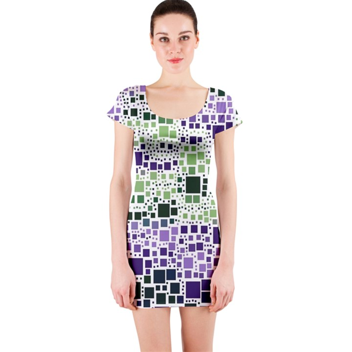 Block On Block, Purple Short Sleeve Bodycon Dress