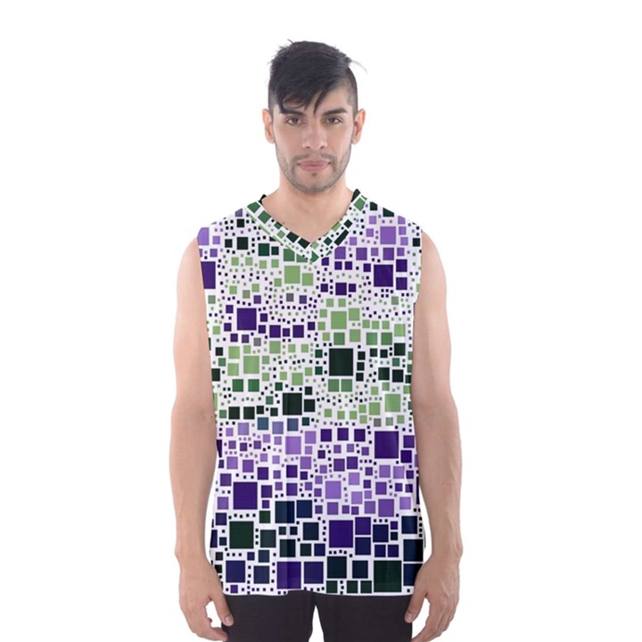 Block On Block, Purple Men s Basketball Tank Top