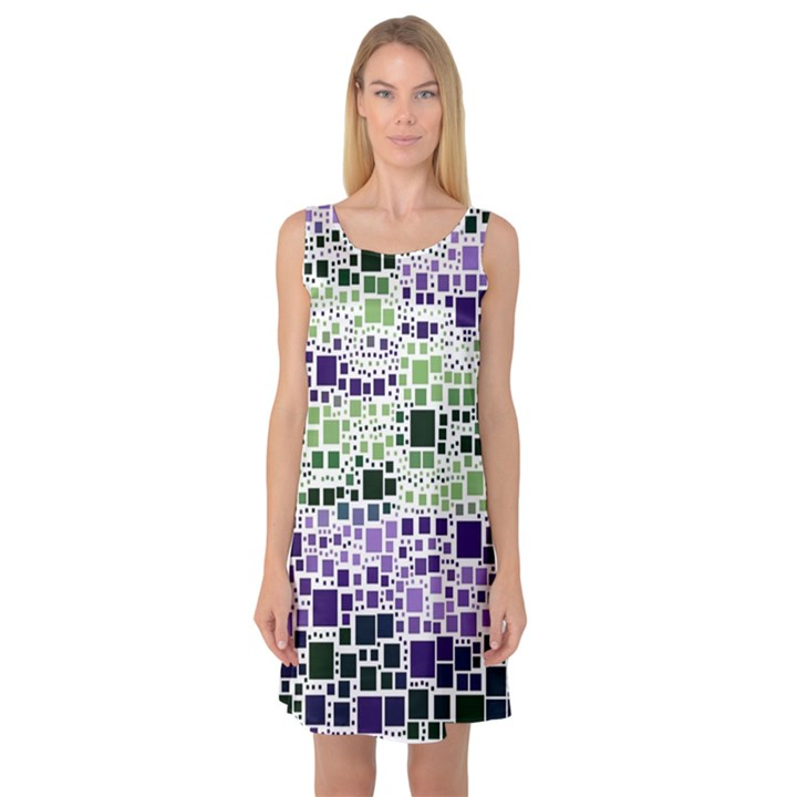 Block On Block, Purple Sleeveless Satin Nightdress