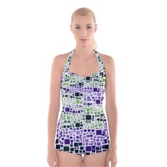 Block On Block, Purple Boyleg Halter Swimsuit