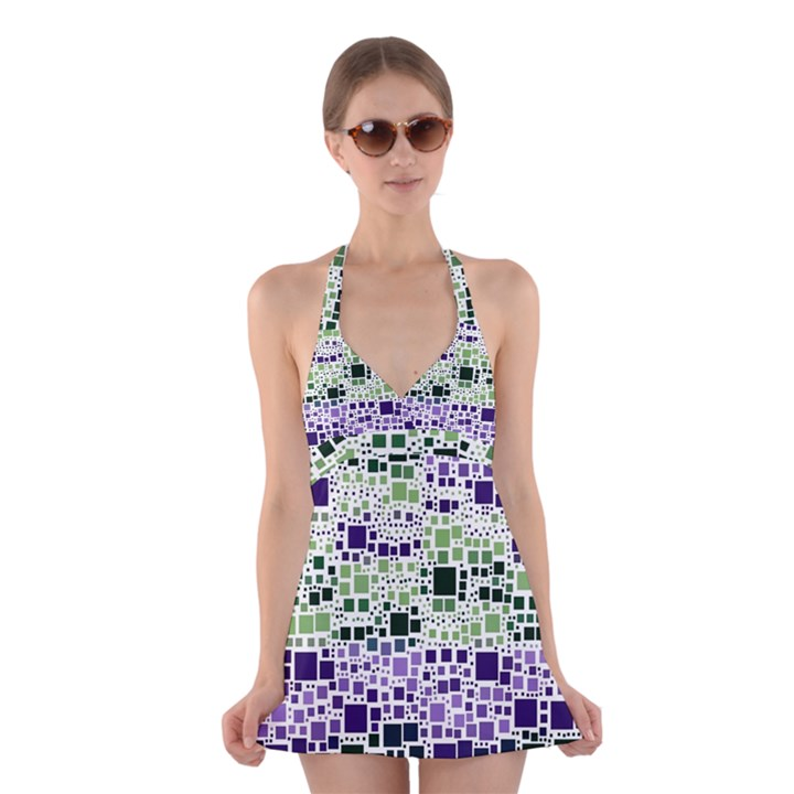 Block On Block, Purple Halter Swimsuit Dress