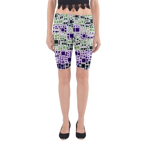 Block On Block, Purple Yoga Cropped Leggings
