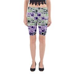 Block On Block, Purple Yoga Cropped Leggings