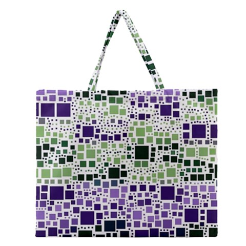 Block On Block, Purple Zipper Large Tote Bag