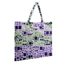 Block On Block, Purple Zipper Large Tote Bag View2