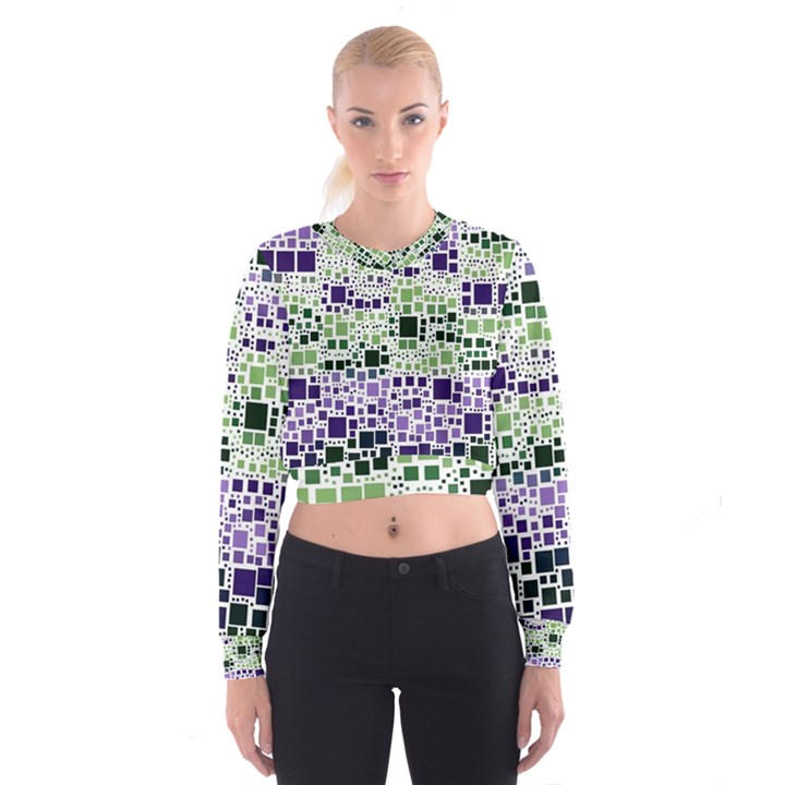 Block On Block, Purple Women s Cropped Sweatshirt