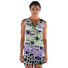 Block On Block, Purple Wrap Front Bodycon Dress