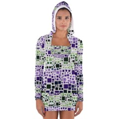 Block On Block, Purple Women s Long Sleeve Hooded T Shirt