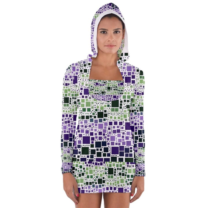 Block On Block, Purple Women s Long Sleeve Hooded T-shirt