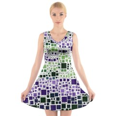 Block On Block, Purple V-Neck Sleeveless Skater Dress