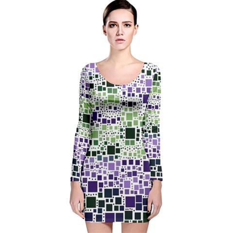 Block On Block, Purple Long Sleeve Velvet Bodycon Dress