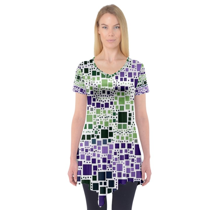 Block On Block, Purple Short Sleeve Tunic