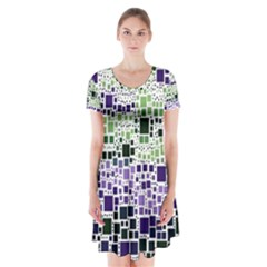 Block On Block, Purple Short Sleeve V Neck Flare Dress