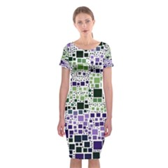 Block On Block, Purple Classic Short Sleeve Midi Dress