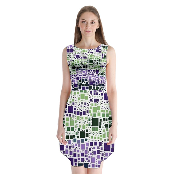 Block On Block, Purple Sleeveless Chiffon Dress