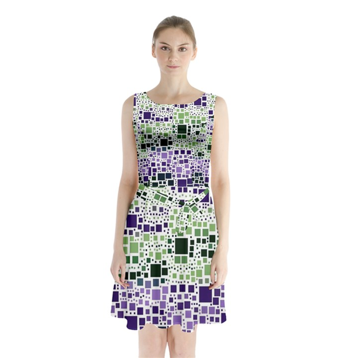 Block On Block, Purple Sleeveless Chiffon Waist Tie Dress