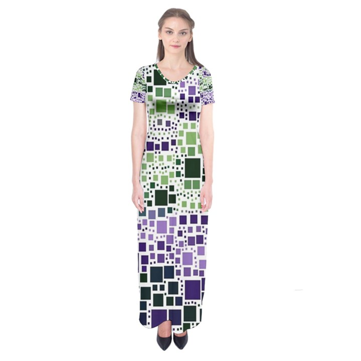 Block On Block, Purple Short Sleeve Maxi Dress