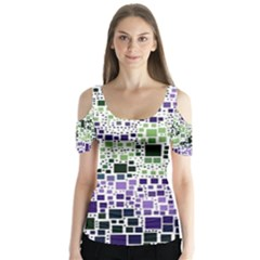 Block On Block, Purple Butterfly Sleeve Cutout Tee
