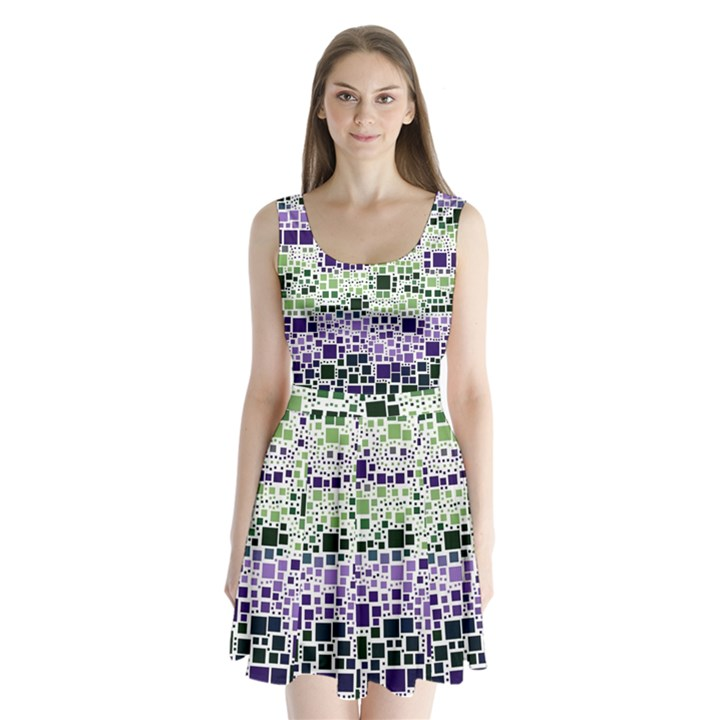 Block On Block, Purple Split Back Mini Dress