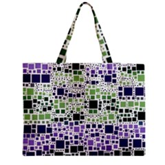 Block On Block, Purple Medium Zipper Tote Bag