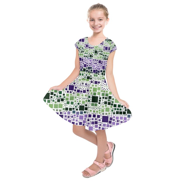 Block On Block, Purple Kids  Short Sleeve Dress