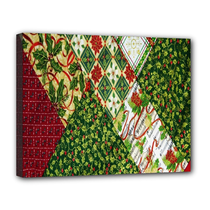 Christmas Quilt Background Canvas 14  x 11