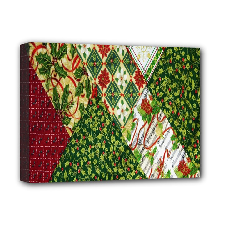 Christmas Quilt Background Deluxe Canvas 16  x 12