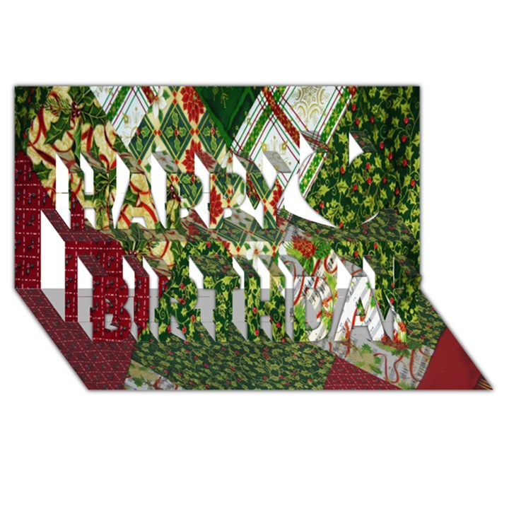 Christmas Quilt Background Happy Birthday 3D Greeting Card (8x4)