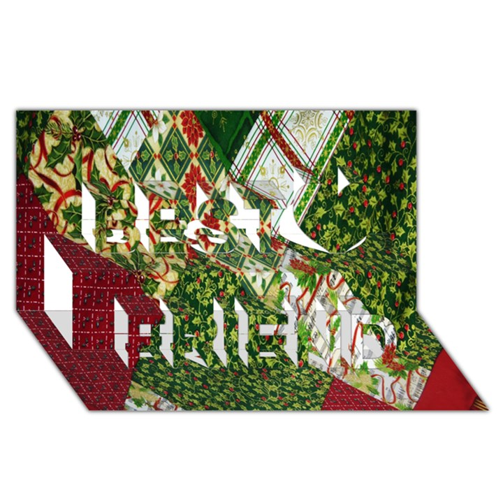 Christmas Quilt Background Best Friends 3D Greeting Card (8x4)