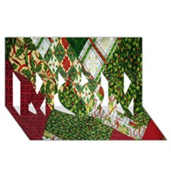 Christmas Quilt Background MOM 3D Greeting Card (8x4)