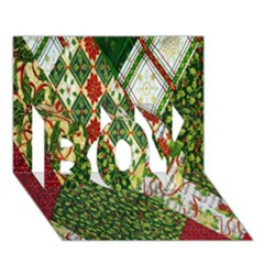 Christmas Quilt Background BOY 3D Greeting Card (7x5)