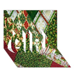 Christmas Quilt Background GIRL 3D Greeting Card (7x5)