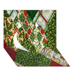 Christmas Quilt Background Heart 3D Greeting Card (7x5)