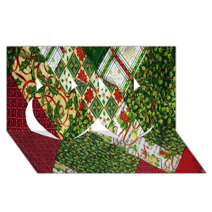 Christmas Quilt Background Twin Hearts 3D Greeting Card (8x4)