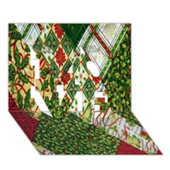 Christmas Quilt Background LOVE 3D Greeting Card (7x5)