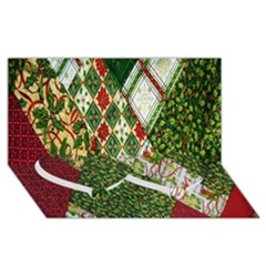 Christmas Quilt Background Twin Heart Bottom 3D Greeting Card (8x4)