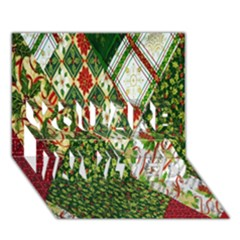 Christmas Quilt Background YOU ARE INVITED 3D Greeting Card (7x5)