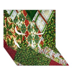 Christmas Quilt Background Clover 3D Greeting Card (7x5)