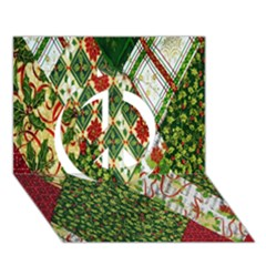 Christmas Quilt Background Peace Sign 3D Greeting Card (7x5)