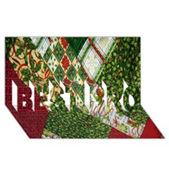 Christmas Quilt Background BEST BRO 3D Greeting Card (8x4)