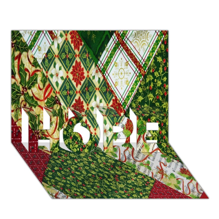 Christmas Quilt Background HOPE 3D Greeting Card (7x5)