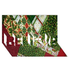 Christmas Quilt Background BELIEVE 3D Greeting Card (8x4)