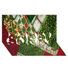 Christmas Quilt Background SORRY 3D Greeting Card (8x4)