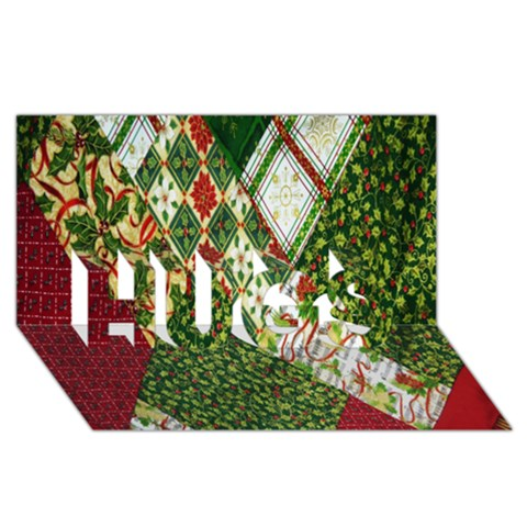Christmas Quilt Background HUGS 3D Greeting Card (8x4)