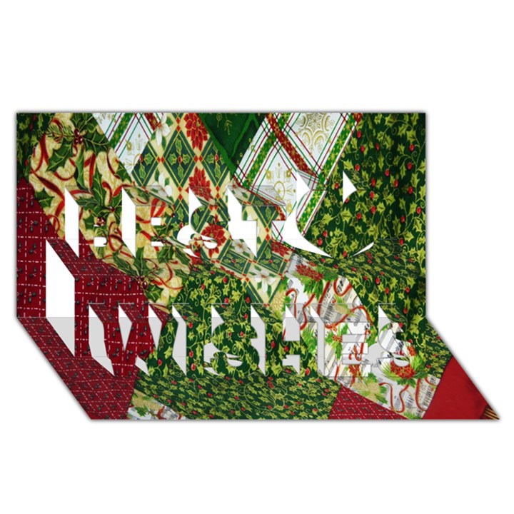 Christmas Quilt Background Best Wish 3D Greeting Card (8x4)