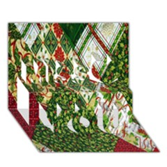 Christmas Quilt Background Miss You 3D Greeting Card (7x5)