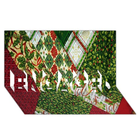Christmas Quilt Background ENGAGED 3D Greeting Card (8x4)