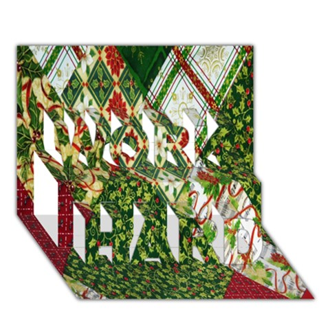 Christmas Quilt Background WORK HARD 3D Greeting Card (7x5)
